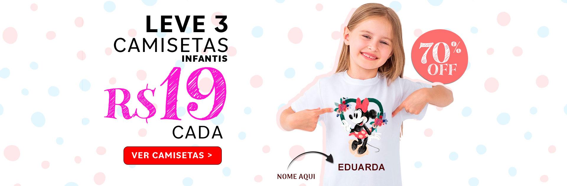 3 Camisetas Infantis por $19 cada