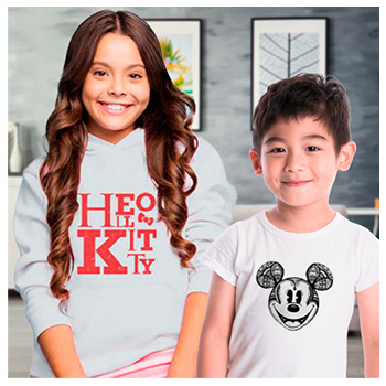 Moletons e Camisetas Infantis Disney e Hello Kitty